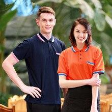 (5 get 10%off,10 get apron)Man/woman coffee shop restaurant hotelr short sleeve waiter T-shirt uniform work wear work clothes