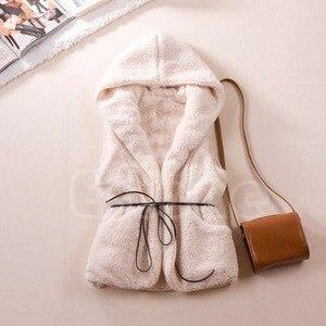 Image 1 - 여자 까마귀 긴 조끼 민소매 자 켓 가짜 양고기 모피 코트 조끼 겉옷
