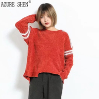 AZURE SHEN Winter Loose For Women 2018 Spring Casual Asymmetrical Long Sleeve Hit Color Lady