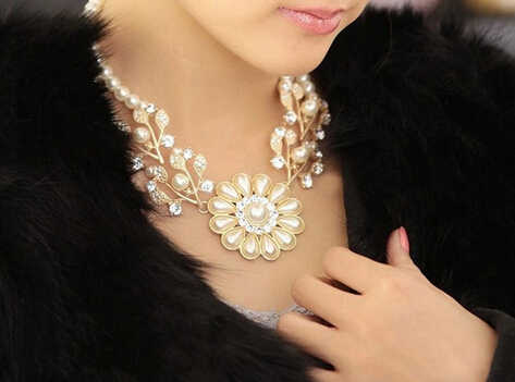ZOSHI New Arrival fashion chunky luxury bubble simulated pearl pendant gold choker Necklace statement jewelry for women