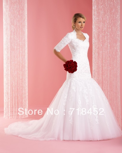 Us 213 98 Vintage Inspired Wedding Dresses Half Sleeve Trumpet Organza Lace Bodice High Back With Train Free Shipping Nw259 In Wedding Dresses From
