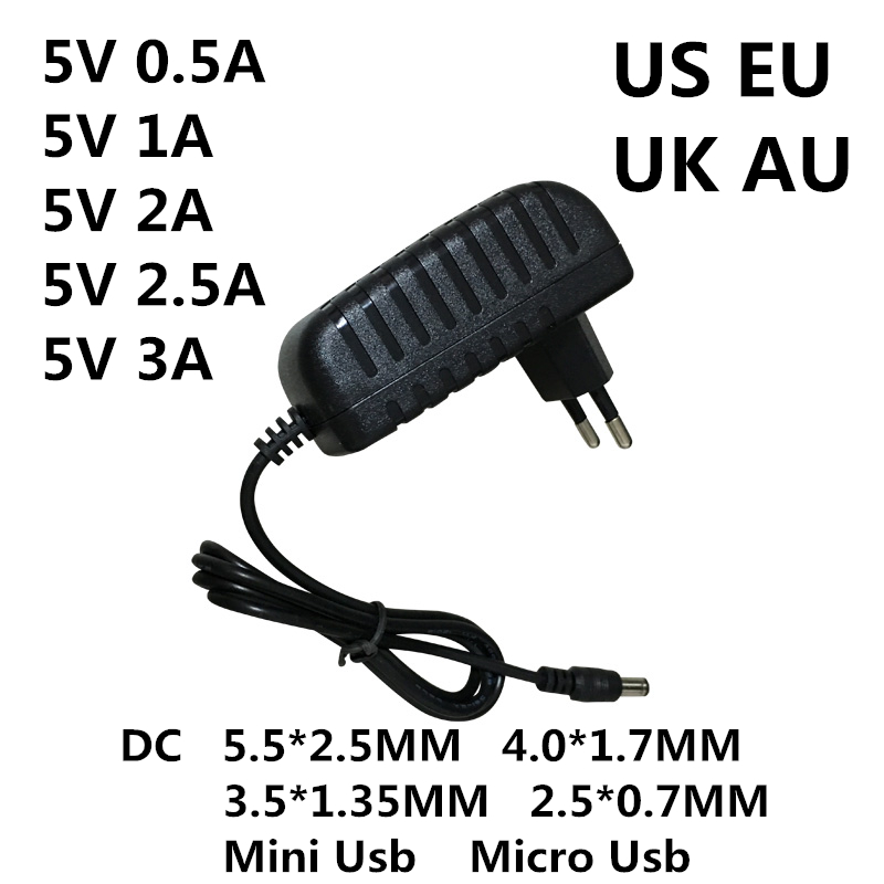 <font><b>DC</b></font> 5V 0.<font><b>5A</b></font> 0.8A 1A 2A 2.<font><b>5A</b></font> 3A AC 100-240V Converter power Adapter <font><b>5</b></font> V Volt 1000MA Switch Power Supply Charger Mini Micro Usb image