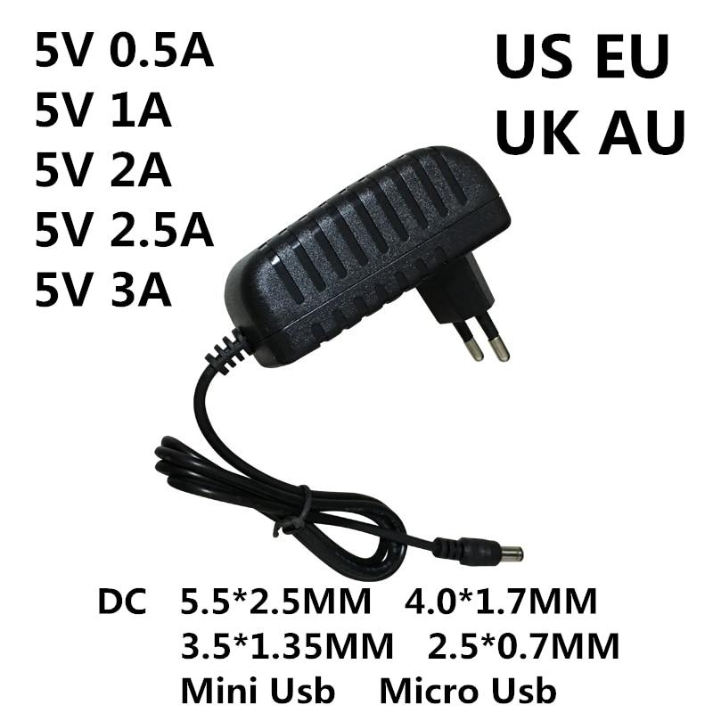DC 5 V 0.5A 0.8A 1A 2A 2.5A 5 3A AC 100-240V Conversor Adaptador de energia V Volt 1000MA Interruptor de Alimentação Carregador Mini Micro Usb
