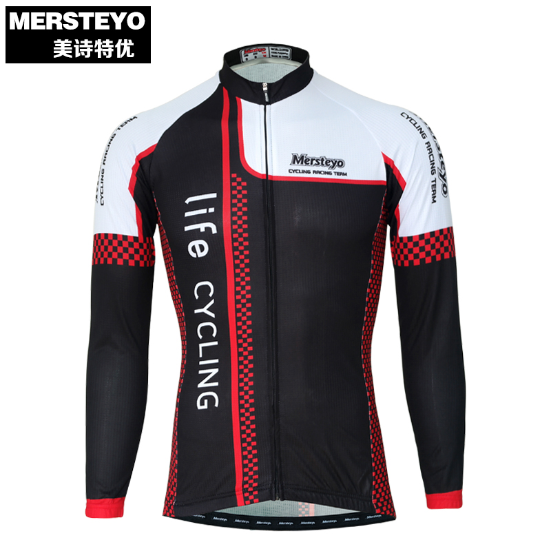 MERSTEYO Pro Men Bike jersey Long Sleeve Team Cycling clothing Cool Black Red Riding Male MTB Wear Ropa Ciclismo Shirts Jakets
