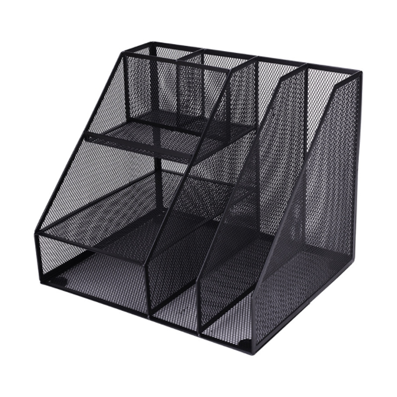 Home Office Desktop Office Storage File Rack Organizer Sorter Black Metal Mesh