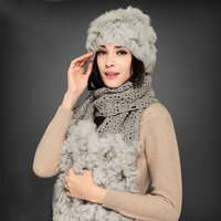 2015 Winter Scarf Hat Pearl rabbit fur hat fur cape twinset Knitted FUR Scarf Hat Set For Women Thicken