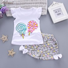 2PCS Toddler Kids Baby Girls Outfits Lolly T-shirt Tops+Short Pants Clothes Set Kids Outfits Fashion Short Summer 2019 NEW(China)