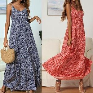 Женское длинное платье с цветочным принтом Boho, летнее пляжное платье макси для вечеринки