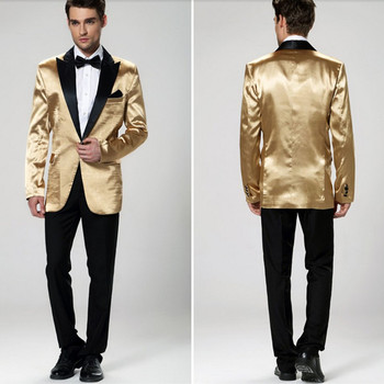 Gold Men Wedding Party Suit Best Two Pieces Groom Tuxedos For Men Wedding Suits For Groomsmen (Jacket+Pant+Tie)