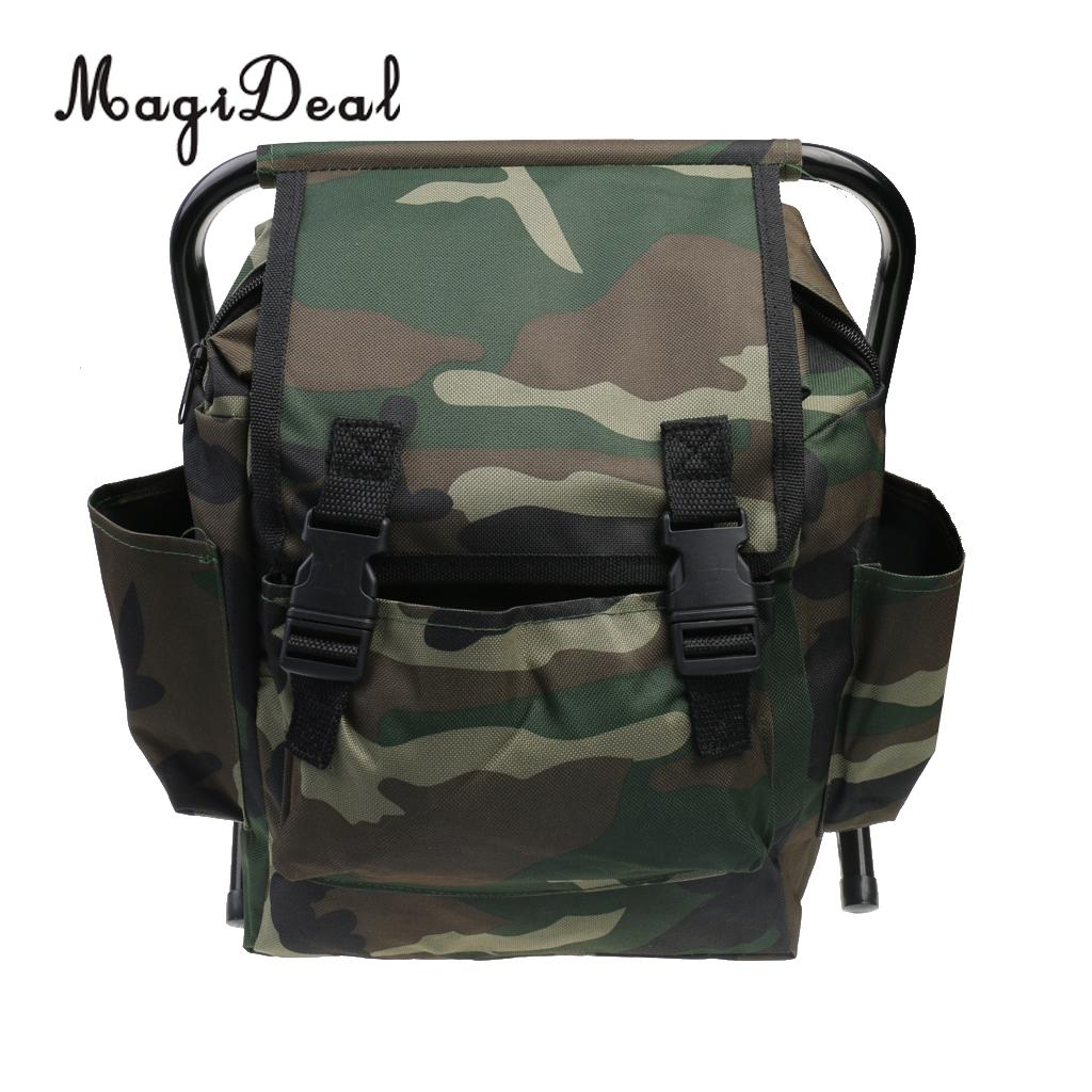 2 In 1 Hunting Fishing Tackle Backpack Bag Camping Foldable Stool Seat Chair Camo For Outdoor Fishing Camping Hiking Equipment Security & Protection