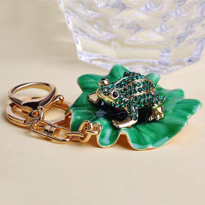 2015 New Arrival Esmalte Green Frogs under Lotus Leaf Chaveiros Man Leather Bag Key chains Key Ring Wedding Souvenirs Unhas