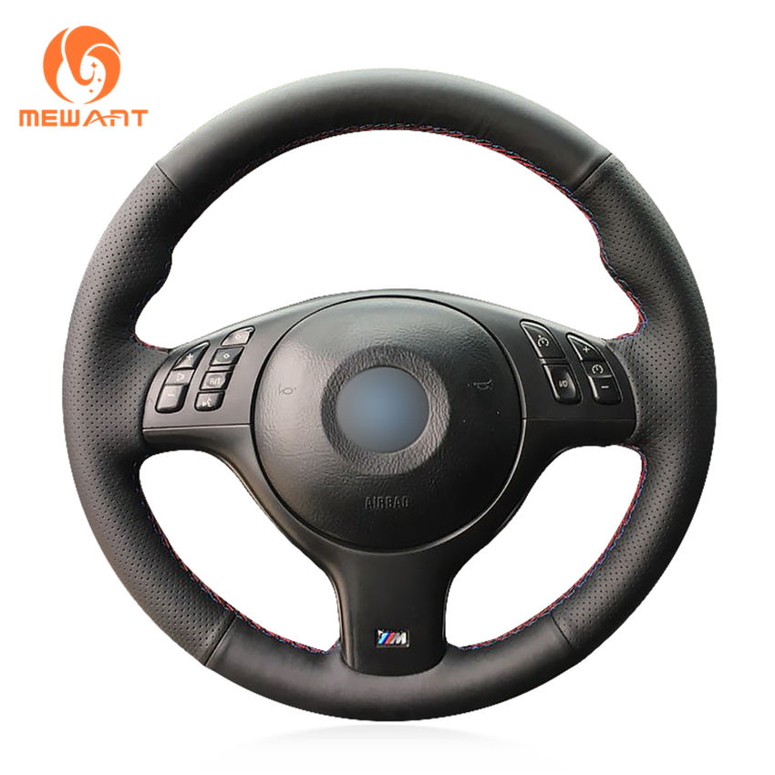 MEWANT Black Genuine Leather Car Steering Wheel Cover for BMW E46 E39 330i 540i 525i 530i 330Ci M3 2001-2003 pair of rear left right air suspension air spring for bmw car 5ser e39 sport rear 540i 2003 530i 2003 525d 2003
