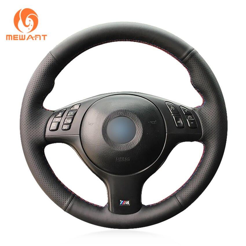 MEWANT Black Genuine Leather Car Steering Wheel Cover for BMW E46 E39 330i 540i 525i 530i 330Ci M3 2001-2003 mewant black genuine leather car steering wheel cover for bmw e46 e39 330i 540i 525i 530i 330ci m3 2001 2003