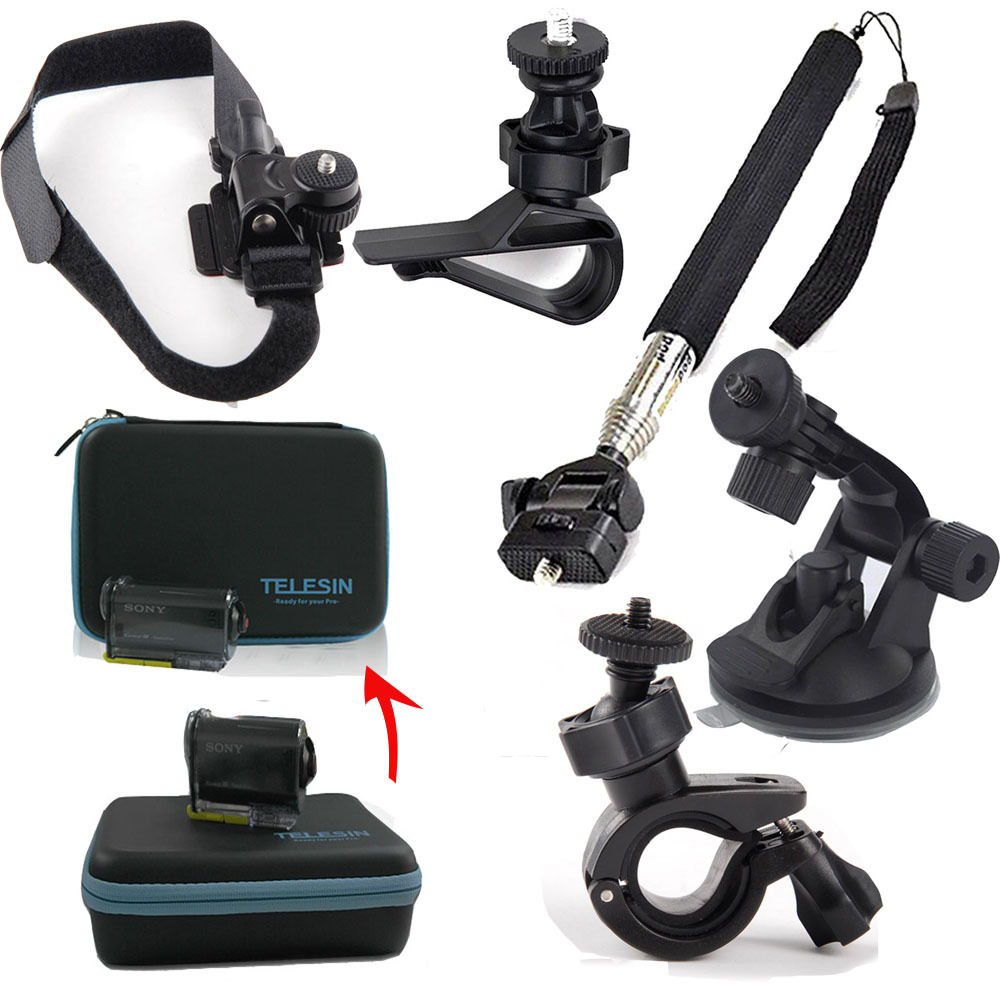 Case Bag Kit Accessries Monopod Car Suction mount for Sony Action Cam AS20 AS200V AS15 FDR-X1000V W 4K AS30V AS100V AZ1 Mini