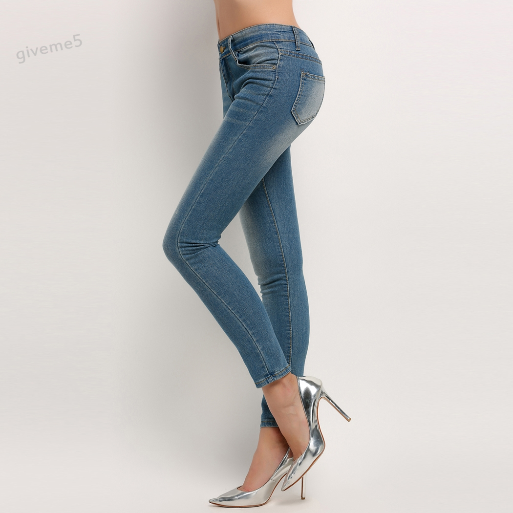2017 New Fashion Women Pencil Pants High Waist Jeans Sexy Slim Elastic Skinny Pants Trousers Fit Lady Jeans Plus Size 62  2017 fashion jeans womens pencil pants high waist jeans sexy slim elastic skinny pants trousers fit ladies blue jeans plus size