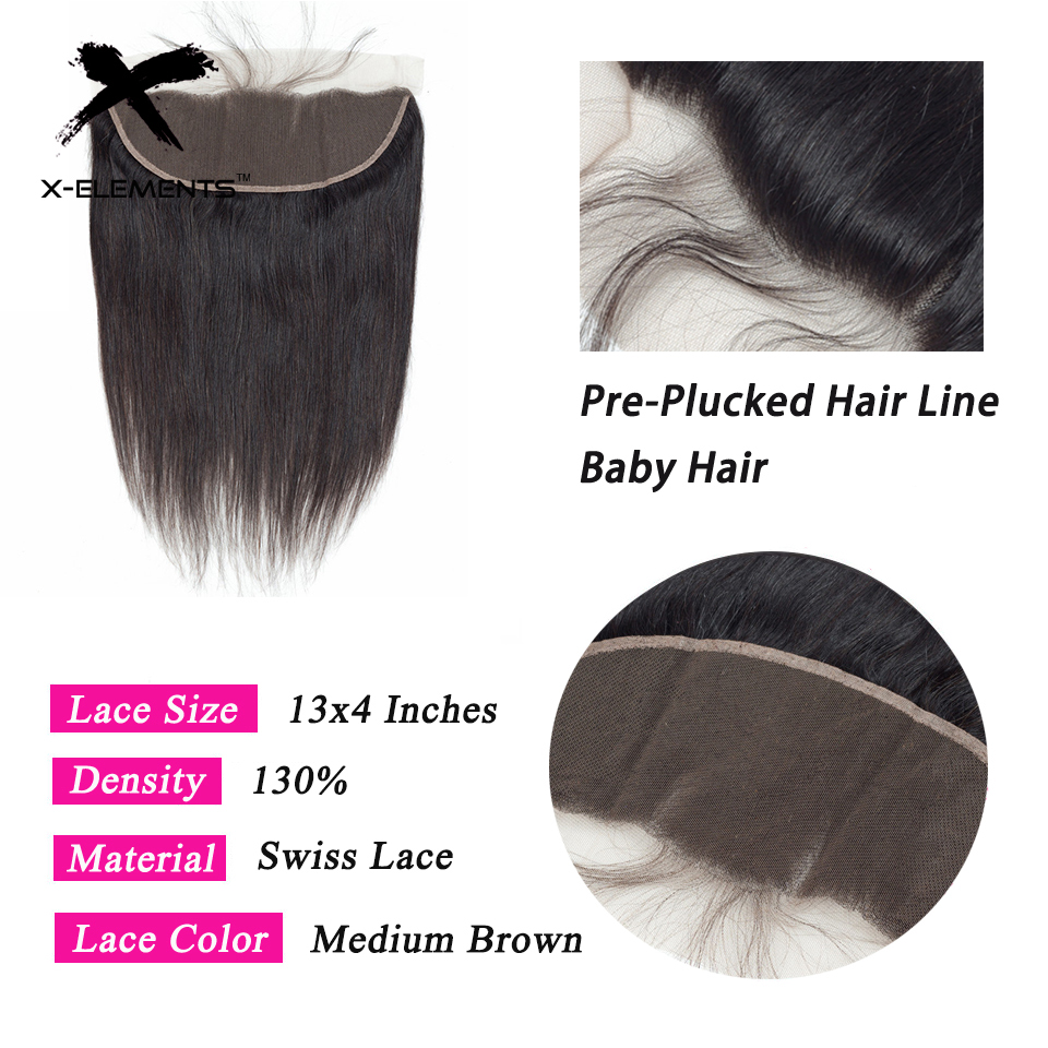 X-Element Malaysian Straight Frontal 100% Human Hair 13x4 Lace Frontal With Baby Hair Non-Remy Natural Color Swiss Lace Frontals (3)