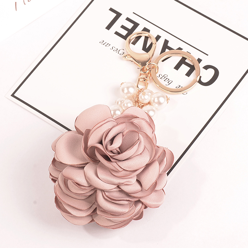 Felyskep New Camellia Rose Keychain Women Romantic Bag Pendant Charm Flowers Key Chain Buckle Key Ring Holder 076WA-B