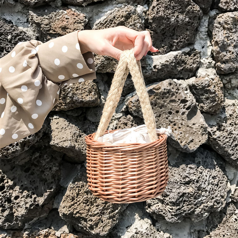 Summer Mini Small Rattan Bag Hihg Quality Natural Handmade Wicker Woven Bucket Bag Women Vintage Handbag Boho Travel Beach Bag