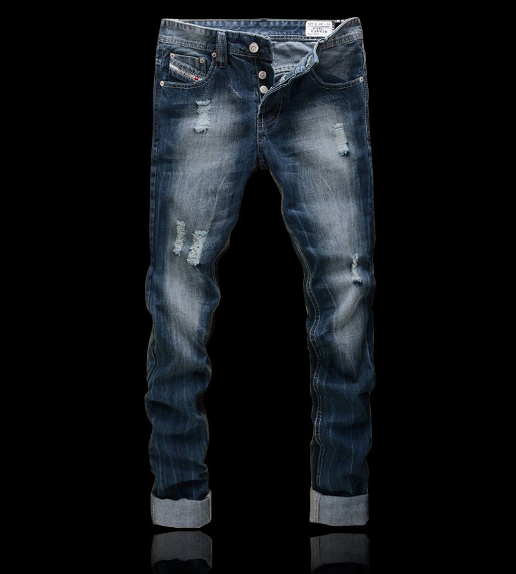 ФОТО 2016 Mens Famous Designer Fashion Cotton Denim Hole Ripped Jeans Casual Straight Jeans Male Men's Jeans Trousers Plus Size 42