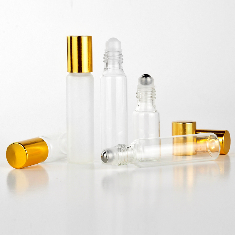Wholesale 100 Pieces Lot 10ML Portable Glass Refillable Perfume Bottle With Roll On Empty Essential Oils