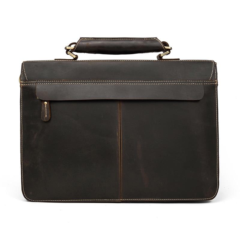 "HTB1Dj8PXyHrK1Rjy0Flq6AsaFXaA Vintage Men's Genuine Leather briefcase 16"" Cowhide Business bag Cow leather Laptop Double Layer messenger bag PC work tote"