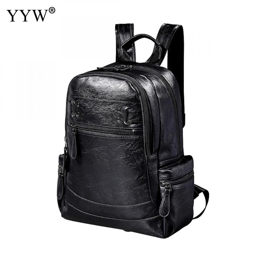 Backpacks Wholesale Black Mens Pu Leather Backpack Brown Small Travel Backpack Zipper Classic Male School Bag Luggage & Bags