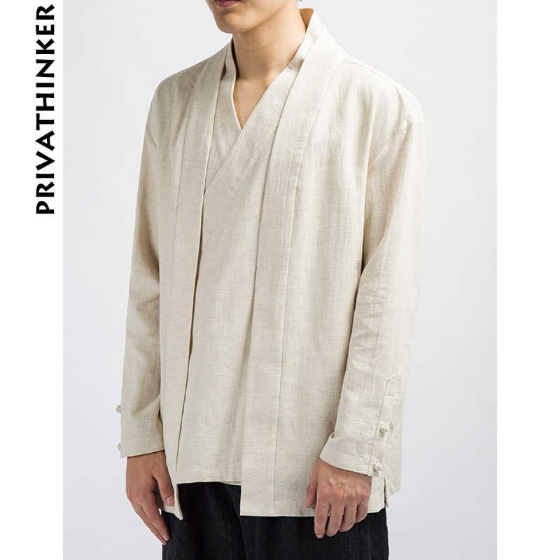 中国風店 INS 男性服 2018 メンズ綿とリネン固体因果着物黒のジャケット男性韓国スタイルウインドブレーカー