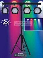 2 xLot Бесплатная доставка 2018 набор светодиодов мини 4 бар светодиодный прожектор RGB сценический штатив стойка для лампы световая система для