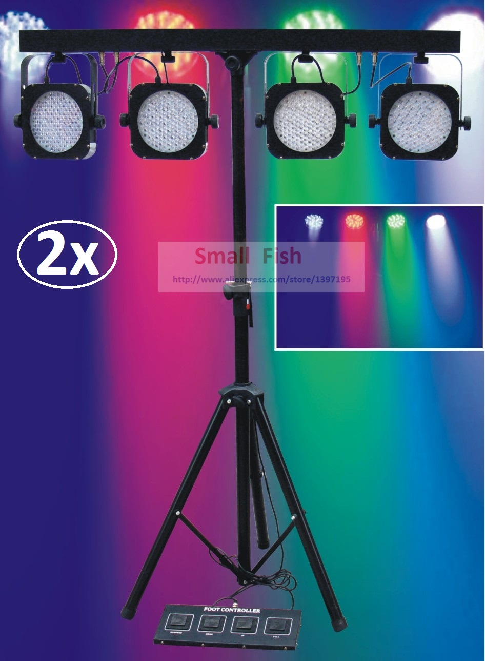 2xLot Free Ship 2016 Led Par Kit Mini 4 BAR LED RGB Par Can Stage Wash Tripod Light Lamp Stand Light System DJ Club Party Show opening 20 mm tripod with lamp red circle ship type switch kcd1 105 3 feet 2 file with lamp