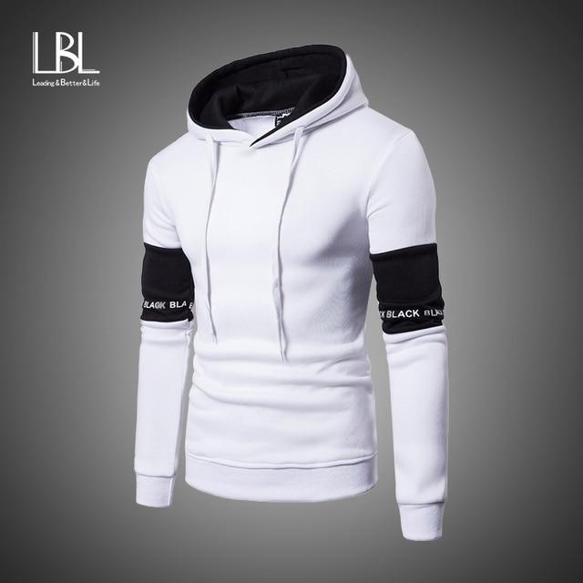 Casual Hoodies Men Fashion New Patchwork Hooded Sweatshirt Coat Mens Moletom Masculino Fashion Hoodies Slim Sportswear Tracksuit