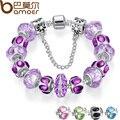 5 Cores Pulseira com Corrente de Segurança De Prata Purple Crystal Bead Charme para As Mulheres Rússia & Jóias Brasil
