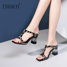 Sexy Thick Heel Slippers Summer Shoes Women Slides 2019 Peep Toe Leopard High Sandals