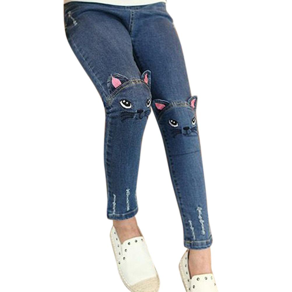Girl Embroidered Kitten Cute Pattern Cat / Bunny Jeans Fashion Trousers