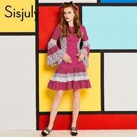 Sisjuly 60 s vintage sukienka kobiety ruffles polka dots patchwork floral print flare rękawem koronka linia retro falbala dorywczo suknie