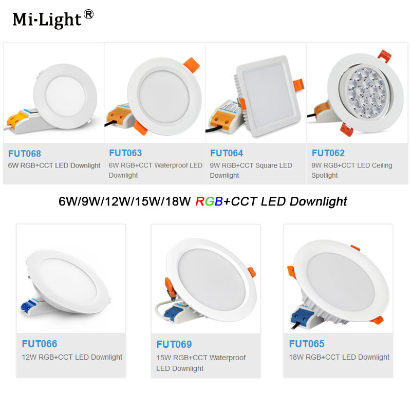 Lights & Lighting Milight Fut069 15w Led Ceiling Rgb+cct Round Spotlight Ac100-240v Compatiable With Fut089/fut092 Indoor Led Smart Panel Remote Downlights