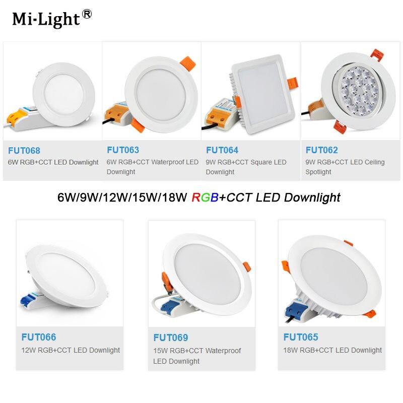 Milight AC110V 220V 6W/9W/12W/15W/18W RGB+CCT LED Downlight Dimmable LED Ceiling Spotlight FUT062/FUT063/FUT066/FUT068/FUT069Milight AC110V 220V 6W/9W/12W/15W/18W RGB+CCT LED Downlight Dimmable LED Ceiling Spotlight FUT062/FUT063/FUT066/FUT068/FUT069