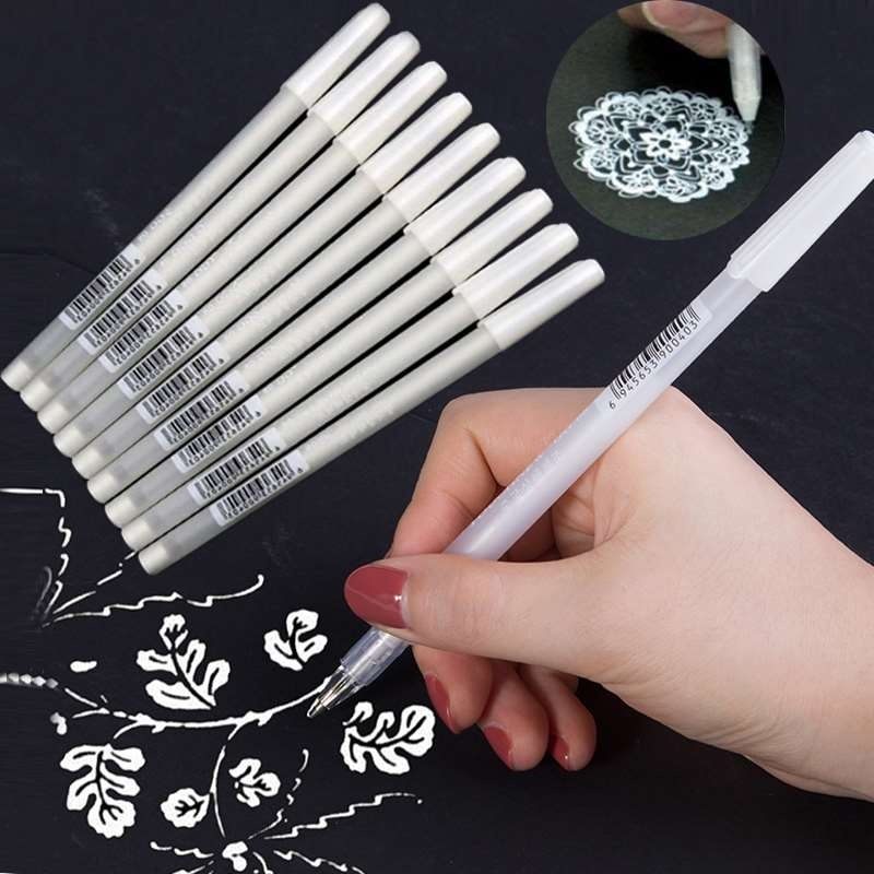 TOUCHTEN 3Pcs/Set 0.8MM White Ink Gel Pens Office School Supplies Photo Album Drawing Painting Art Marker Pen