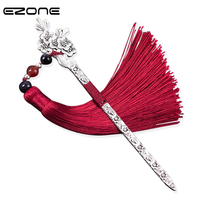 EZONE Chinese Style Retro Bookmark Classical Agate Silver Hair Pin Tassels Metal Bookmark Creative Book Holder Office Supply