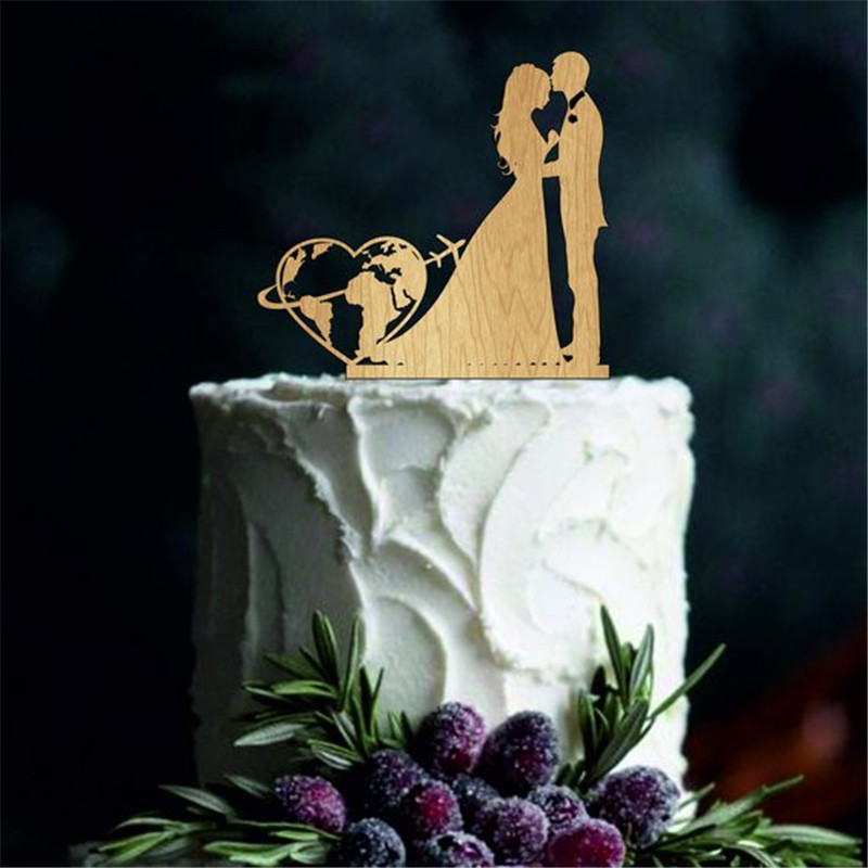 Travel Themed Wedding Cake Topper World Map Cake Topper Airplane Cake Topper Map Silhouette Acrylic Wooden image