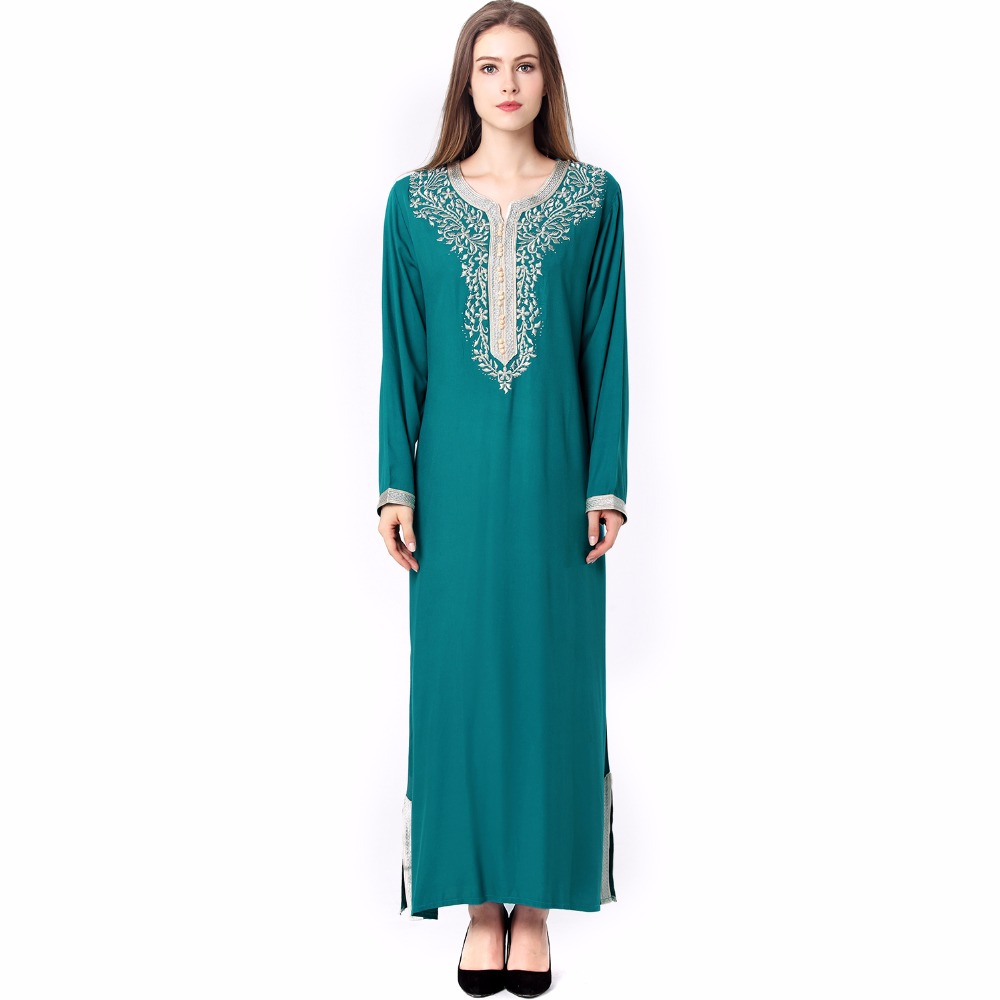 db4d39427e0 Muslim women Long sleeve hijab Dress maxi abaya jalabiya islamic women  dress clothing robe kaftan Moroccan fashion embroidey1631