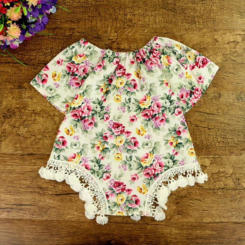 ФОТО Wholesale 5pcs/lot 2017 Baby Floral Romper Baby Boutique Clothing Cotton Newborn Toddler Girl Summer PomPom Rompers Outfits