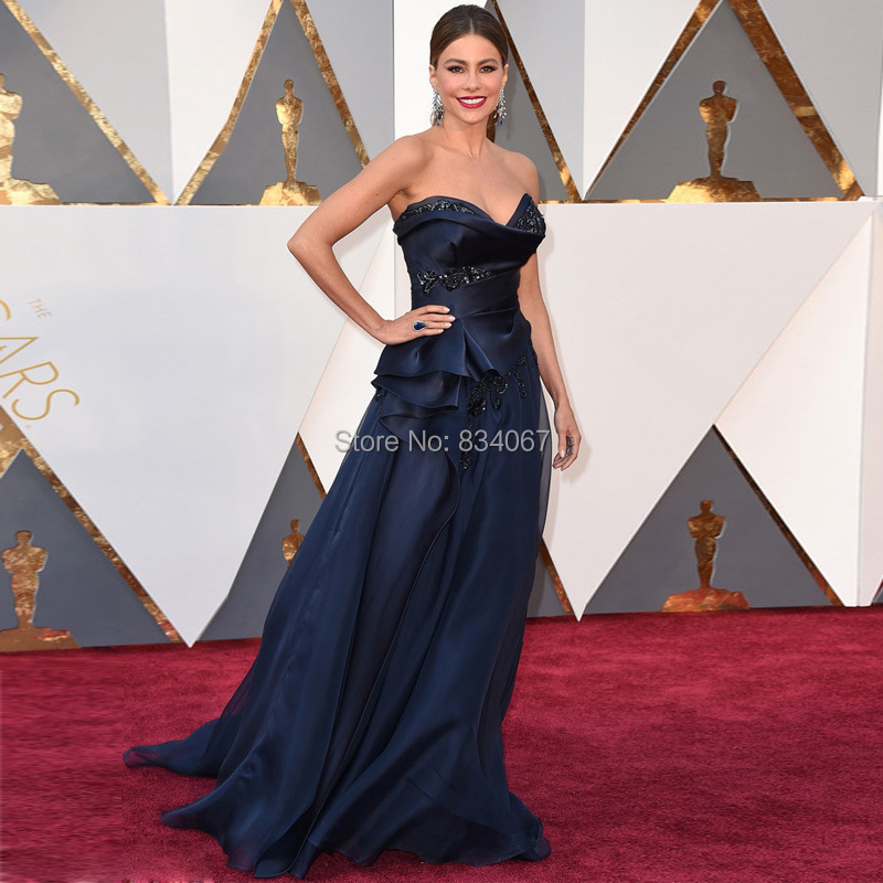 32298482a 88th Oscars Sofia Vergara Sweetheart Red Carpet Gowns 2017 Navy Blue Unique  Design Celebrity Dresses for Women Elegant