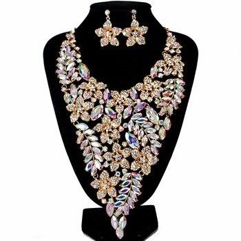 Lan дворец parure bijoux femme Стекло большой набор ювелирных изделий ожерелье и серьги для wo'men Бесплатная доставка