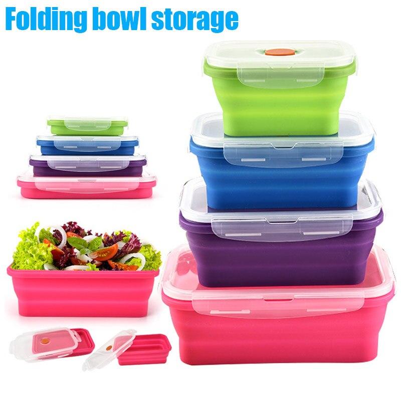Горячее предложение силикона bento box Складной Обед Чаша Еда контейнер для хранения Коробки Посуда @ LS de2917