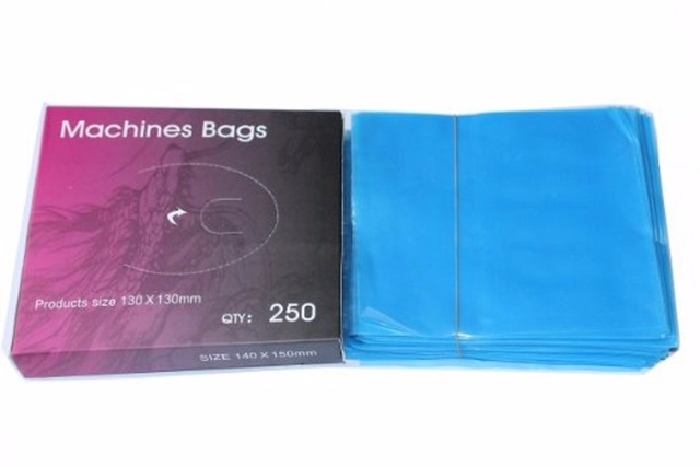 One Box Of 250PCS Plastic Clear Blue Tattoo Machine Cover Bags Supply TA-104