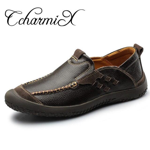 Men'S Genuine Leather Shoes Casual Vintage Zapatos Designer Male Walking Shoe