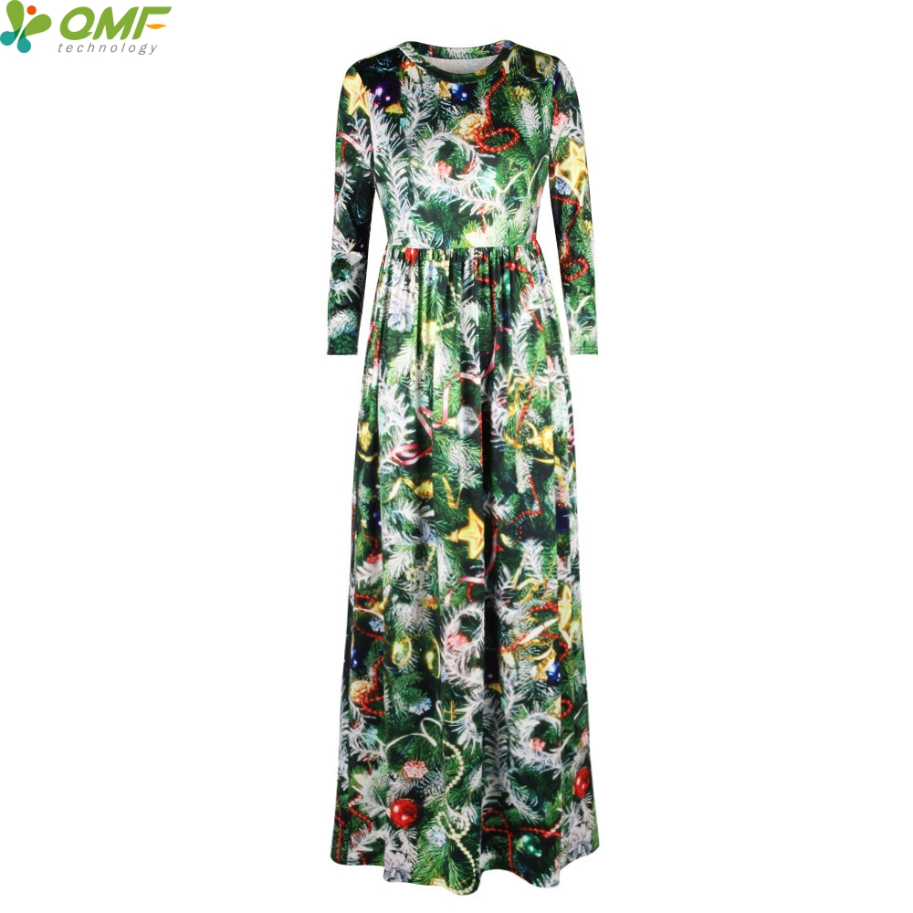Green Christmas Tree Print Tennis Long Dress Holiday Party Maxi Dresses  Christmas Floral Vintage Women Vestidos Floor Length e88a1c1721cf
