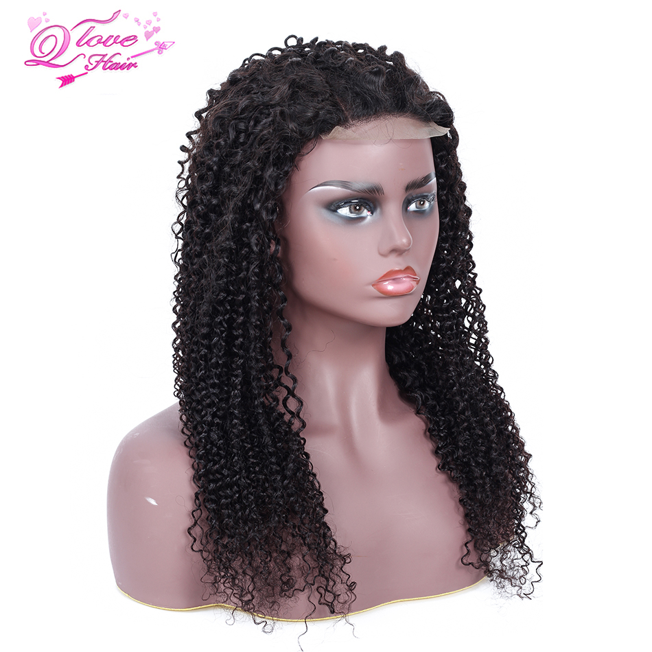 Queen Love Hair Lace Frontal Wigs Peruvian Kinky Curly Wigs Human Hair Wigs Remy Hair Density Made By Bundles With Closure