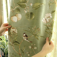 American Rustic Style Curtains For Living Room Birds Printed Drapes Home Decor Linen Color Window