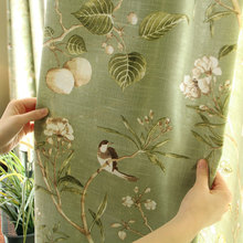 American rustic style Curtains for living room Birds Printed Drapes Home decor Linen Color window curtain
